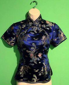 Vintage chinesischer Seide Bluse von CorduroyDaydream auf Etsy