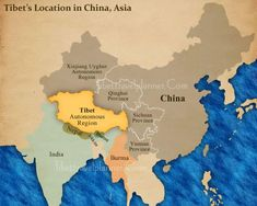 """Tibet's Location in China, Asia from review of Peter Hopkirk's """"Trespassers on the Roof of the World"""""""