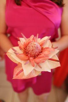 Beach wedding bouquet idea - pink tropical bouquet for bridesmaids {GIDEON PHOTOGRAPHY}