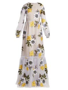 Erdem Ora Floral-embroidered Silk-organza Gown In Multicoloured Passion Flower Varo Embroidery Sheer Embroidered Dress, Sheer Floral Dress, Floral Dresses, Blue Dresses, Blue Ball Gowns, Blue Evening Dresses, Blue Gown, Modest Dresses, Casual Dresses
