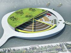Could Present Architecture's Green Loop Composting Park Concept Be the Future of NYC Sanitation? // Inhabitat // Present Architecture Concept Architecture, Sustainable Architecture, Sustainable Design, Architecture Design, Green Architecture, Landscape Architecture, Urban Composting, Garbage Waste, Natural Ecosystem