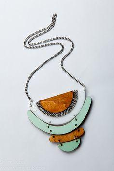 Kite Geometrical necklace, statement necklace, perspex necklace, formica necklace, wood necklace