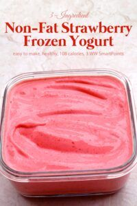 This Weight Watchers friendly strawberry frozen yogurt is an easy, healthy and delicious frozen dessert or snack you can make in minutes with just 3 common ingredients! easy 3 ingredients easy for a crowd easy healthy easy party easy quick easy simple Ww Desserts, Frozen Desserts, Healthy Dessert Recipes, Healthy Drinks, Gourmet Recipes, Healthy Eats, Ww Recipes, Health Desserts, Drink Recipes