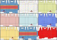 Con Lunares de Colores: Cajas para Lunch, para Imprimir Gratis.