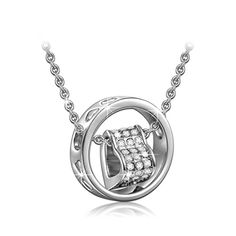 Qianse Made with SWAROVSKI Crystals Heart Pendant Necklace for Women 18K White Gold Filled Plated *** Be sure to check out this awesome product.