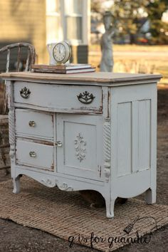 washstand painted in Miss Mustard Seed Marzipan - q is for quandie.