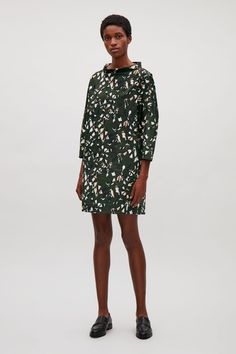 COS image 1 of Printed wide-neck dress in Khaki Green
