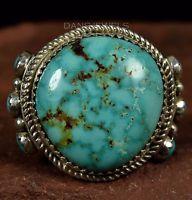 BIG Stone HOSKIE YAZZIE Navajo TURQUOISE Sterling Silver Ring Sz 8