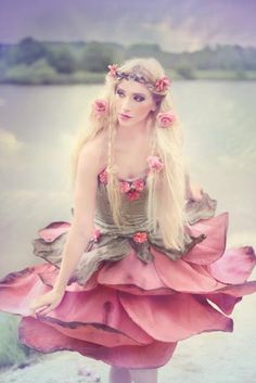 Mini Fairy Rose Dress Fairytale Flower by TemperateSageFashion Rose Dress, Flower Dresses, Pink Dress, Mode Baroque, Flower Costume, Bodice Top, Fantasy Costumes, Fairy Costumes, Fairy Dress
