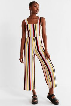 UO Delany Straight-Neck Striped Jumpsuit | Urban Outfitters