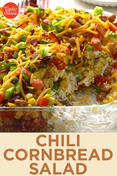Chili Cornbread Salad, , food and drink dinner, Mexican Food Recipes, Beef Recipes, Cooking Recipes, Vegetarian Recipes, Recipies, Chili And Cornbread, Mexican Cornbread Salad, Southern Cornbread Salad, Cinnamon Health Benefits