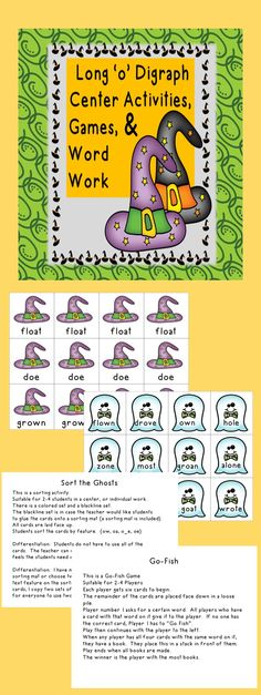 This is a long 'o' center activity. It features the following ways to make the long 'o' sound,ow, oa, oe, o_e. It has two games that can be played in a variety of ways. Instructions for game play and differentiation are included. There is a Go-Fish game featuring fun witch hats. There are also cards featuring a cute ghost. Directions for word work and a word work mat are included. Blackline pages of the ghosts are also included.