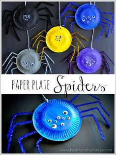 Paper Plate Spider Craft: Simple and fun kids Halloween craft.