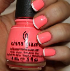 Hot pink with white tips, twisted french manicure. Super summery!
