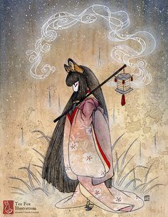 Bad Thoughts / Kitsune Fox Girl, Yokai / Japanese Asian Style / 8.5x11 Fine Art Matte Print - love the idea of adding a lantern, and the bandaged legs are a good idea
