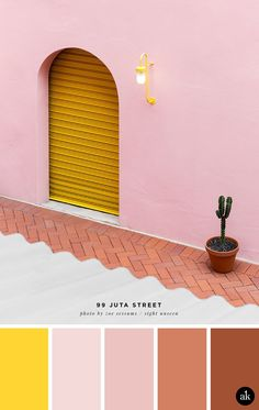 a pink and yellow color palette // yellow, pink, terra cotta // 99 Juta Street photographed by Zoe Sessums palette yellow a pink-and-yellow-facade-inspired color palette — Akula Kreative Pink Color Schemes, Colour Pallette, Yellow Color Palettes, Adobe Color Palette, Yellow Color Combinations, Website Color Palette, Beach Color Palettes, Pink Palette, Color Yellow