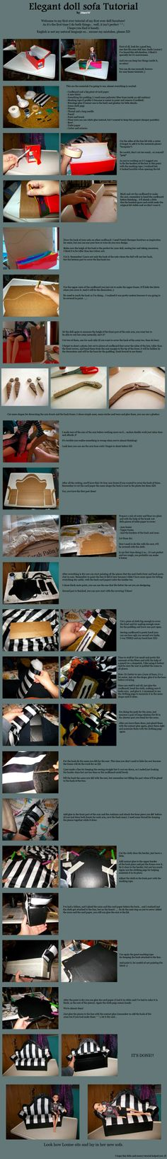 Elegant doll sofa tutorial by MarsW. Found this in a site I like. I don't do cardboard. However those of you that do may find it interesting and something cool to do. The blonde in pic.