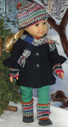 Navy Wool Jacket,  Pants, Tee, plus Hat and Scarf Set for Contemporary 18 inch Girls