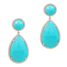Turquoise Pear Shaped Earrings with White Diamonds | From a unique collection of vintage drop earrings at http://www.1stdibs.com/jewelry/earrings/drop-earrings/