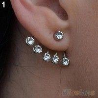 Silver Crystal Ear Cuff