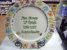 """FIngerprint Plate.  This would be a great """"thank you"""" gift for teachers or for a school fundraiser/auction."""
