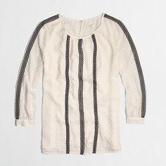 Factory chiffon dot blouse with lace panels