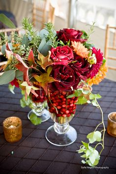 Beautiful Blooms - Autumnal Berry Cocktail Table Decor