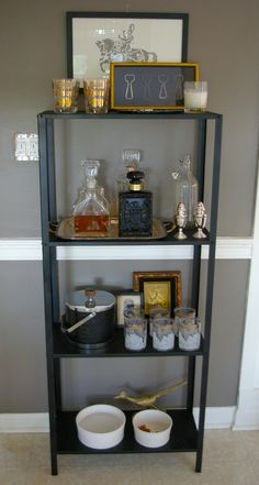 bar set-up: love the masculine touches of gold & black