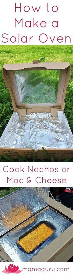 Here is a great science craft to teach kids about alternative energy: a solar oven! Harnessing the power of the sun is cool and teaches us about caring for our environment and using renewable resources. Best of all, kids can make a snack they love, nachos, using the solar oven they made using this DIY.  The directions are remarkably easy and you might already own all of the materials needed. It's a wonderful summer activity to do with your own kids, or in a community or classroom setting.