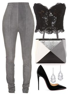 Grey, Black & White by carolineas on Polyvore featuring polyvore, fashion, style, Reem Acra, Balmain, Christian Louboutin, Fendi, Plukka and clothing