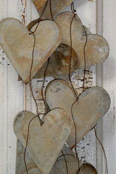 Metal heart garland long large distressed by AnitaSperoDesign