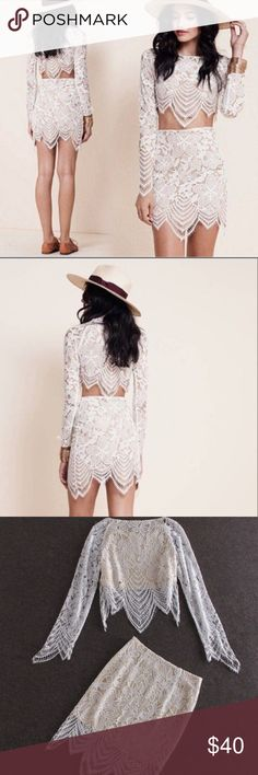 White lace two piece Very light and beautiful. Skirt is a little see through so no panties or a wear a slip. I am selling with white crop top as well for underneath. Not for love and lemons brand! Only inspired by. For Love and Lemons Dresses