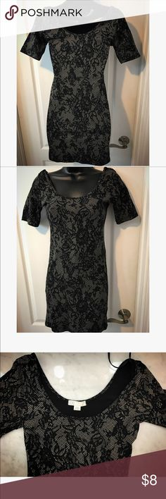 Forever 21 lace printed dress Forever 21 lace printed dress, perfect new condition, never worn, extremely fitted, the dress neckline dips in the front and back, beautiful black lace print design on nude background Forever 21 Dresses Mini
