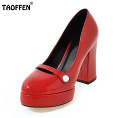 32.72$  Watch here - http://aliedj.shopchina.info/go.php?t=32802626656 - TAOFFEN Lady High Heel Shoes Women Round Toe Pumps Square Heel Platform Shoes Footwear Ladies Buckle Heels Shoes Size 34-43  32.72$ #shopstyle