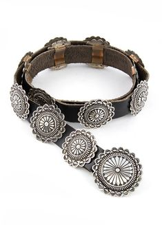 Navajo Sterling Silver Round Concho Belt | Silver Eagle Gallery