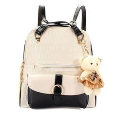 Women Bear Pendant Leather Backpack
