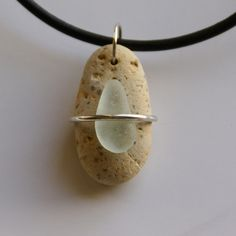 sterling wrap sea glass necklace