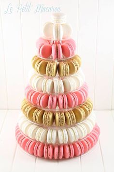 Pink, white and gold Macaron tower Le Petit Macaron