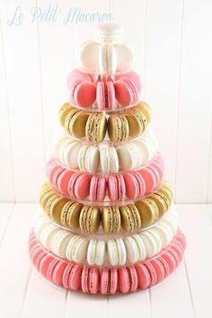 Pink, white and gold Macaron tower  Le Petit Macaron