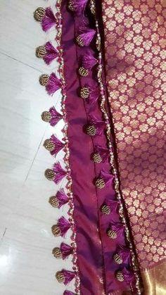 18 Awesome Pics of saree kuchu designs crops Saree Tassels Designs, Saree Kuchu Designs, Silk Saree Blouse Designs, Fancy Blouse Designs, Blouse Patterns, Saree Border, Embroidery Saree, Hand Embroidery, Elegant Saree