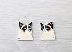 Hand drawn Grumpy Cat earrings    Just love this grumpy little creature! These earrings are a definitive conversation piece. Also a great gift