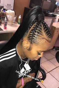 Hair in 2019 Braided ponytail hairstyles, Weave black girl braided hair styles - Hair Style Girl Hair Ponytail Styles, Black Girl Braided Hairstyles, Braided Ponytail Hairstyles, Black Girl Braids, Sleek Ponytail, Baddie Hairstyles, Braids For Black Hair, Fringe Hairstyles, Girls Braids