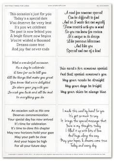 Easy Peely Verses for Cards - All Occasion Sheet Christmas Card Verses, Birthday Verses For Cards, Birthday Card Messages, 70th Birthday Card, Birthday Card Sayings, Birthday Sentiments, Birthday Quotes, Birthday Greetings, Birthday Wishes