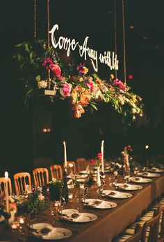fabulous floral overhang, swing for a wedding reception