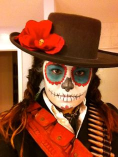 99¢ store has a bunch of felt hats similar to this...just add flowers. Dia de los Muertos Costume by SFYellowBike, via Flickr
