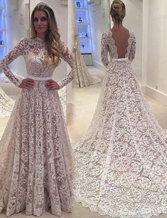 A-line Lace Backless Long Sleeves Court Train Bowknot Wedding Dress Western Wedding Dresses, Luxury Wedding Dress, Dream Wedding Dresses, Bridal Dresses, Wedding Gowns, Prom Dresses With Pockets, Designer Dresses, Marie, Ball Gowns