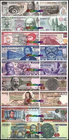 Mexican Currency | 10, 20, 50, 100, 500, 1.000, 5.000, 10.000 pesos
