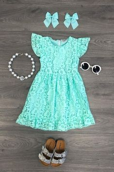 Lily Lace Dress - Mint - April 13 2019 at Mint Dress Lace, Girls Lace Dress, Girls Dresses, Lace Dress For Kids, Coral Lace Dresses, Little Girl Outfits, Toddler Girl Outfits, Kids Outfits, Baby Girl Fashion