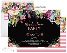 Floral graduation invitation printable or printed graduation floral graduation invitation printable or printed graduation party invitation graduation invite grad invitation filmwisefo Choice Image