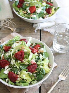 Honey roasted strawberry feta salad